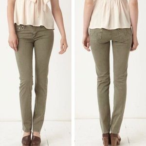 AG The Edie Mid Rise Skinny Straight Jeans Olive